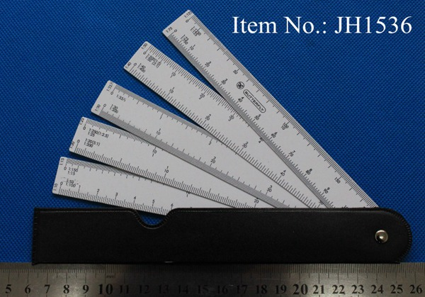 Multi-ratio 5 Blade Fan Scale Ruler reduction ruler