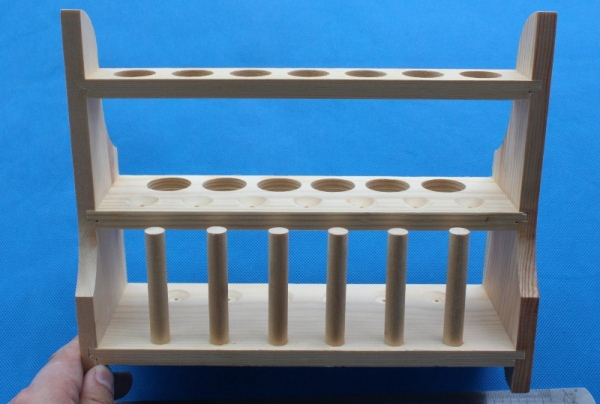 13 place Double layer Wooden in-line test tube rack with drying pegs