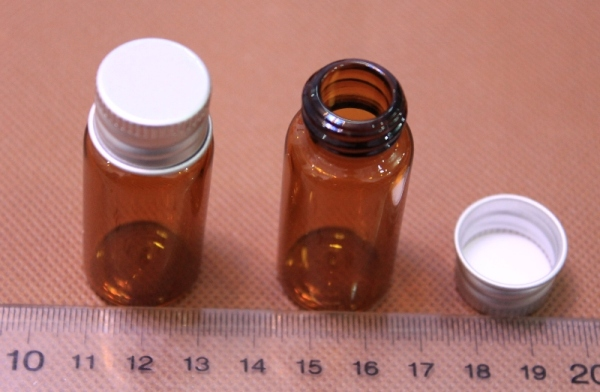 Amber glass sample reagent bottle Screw Thread Vials with aluminium cap