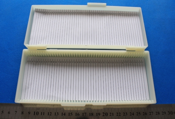 50 place Microscope Slide Case 50 slide storage box