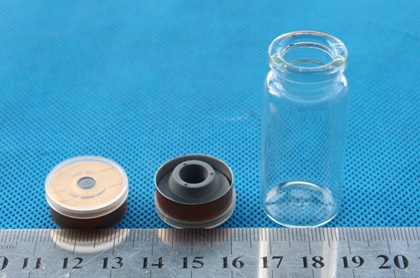 Glass tubular Sample injection vials with rubber stopper aluminum plastic cap