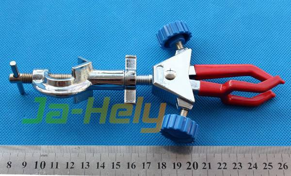 Zinc alloy Dual Adjustable Triplex style clamp three prong Swiveling retort clamp with bosshead