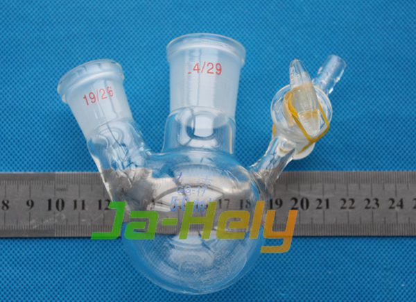 25~2000ml Lab use glass round bottom 2 neck airfree Schlenk reaction flask with stopcock
