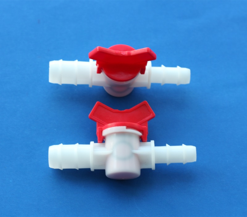 Plastic mini reducing Barbed flow control ball valve with double barb connector