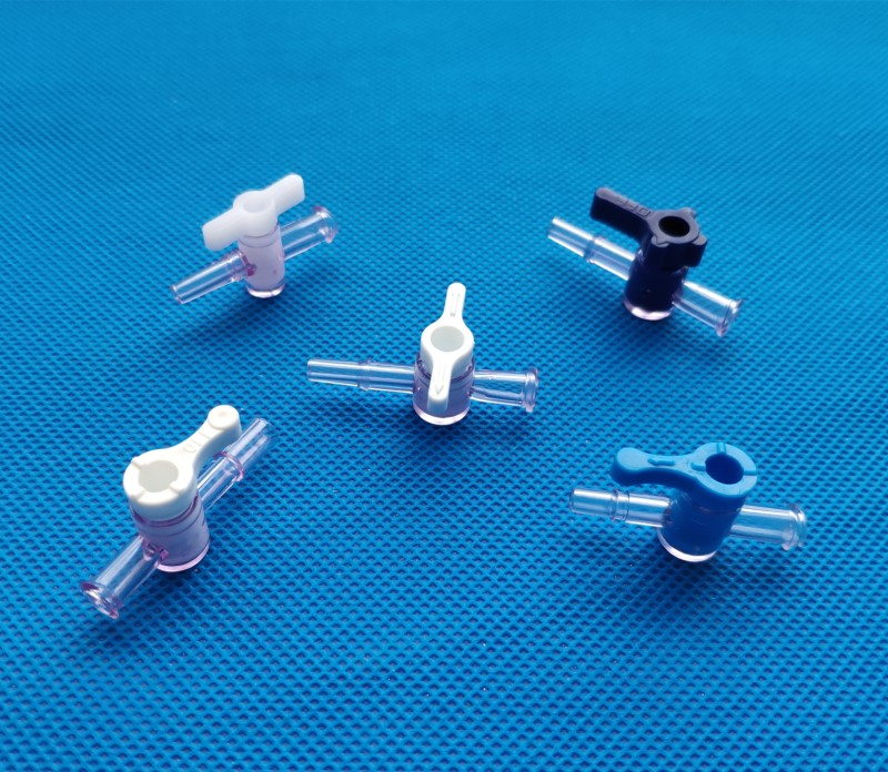 One 2 way plastic luer stopcock Flow Control Valve with male female luer or barbed connector