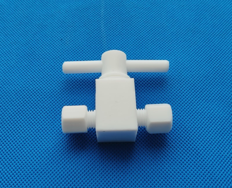 Machined entire whole 100% PTFE Stopcock Valve flow control ball valve with tube fittings