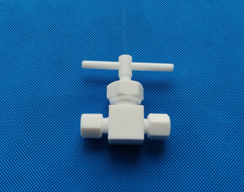 Machined entire whole 100% PTFE stop gate valve needle valve with hose tube fittings