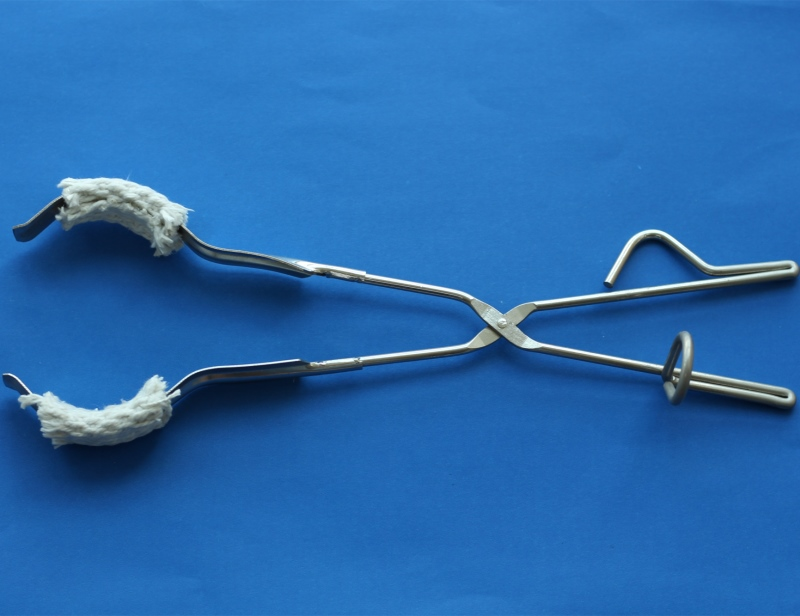 Lab use 36.5cm Stainless Steel Beaker Tongs with glass fiber covered Jaws